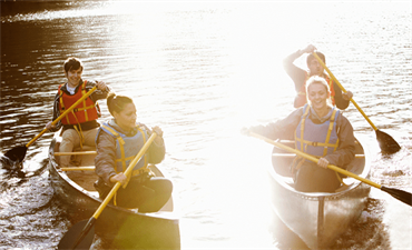 Group of people canoeing