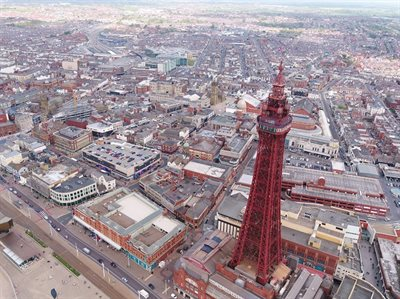 View of Blackpool and tower from the air.