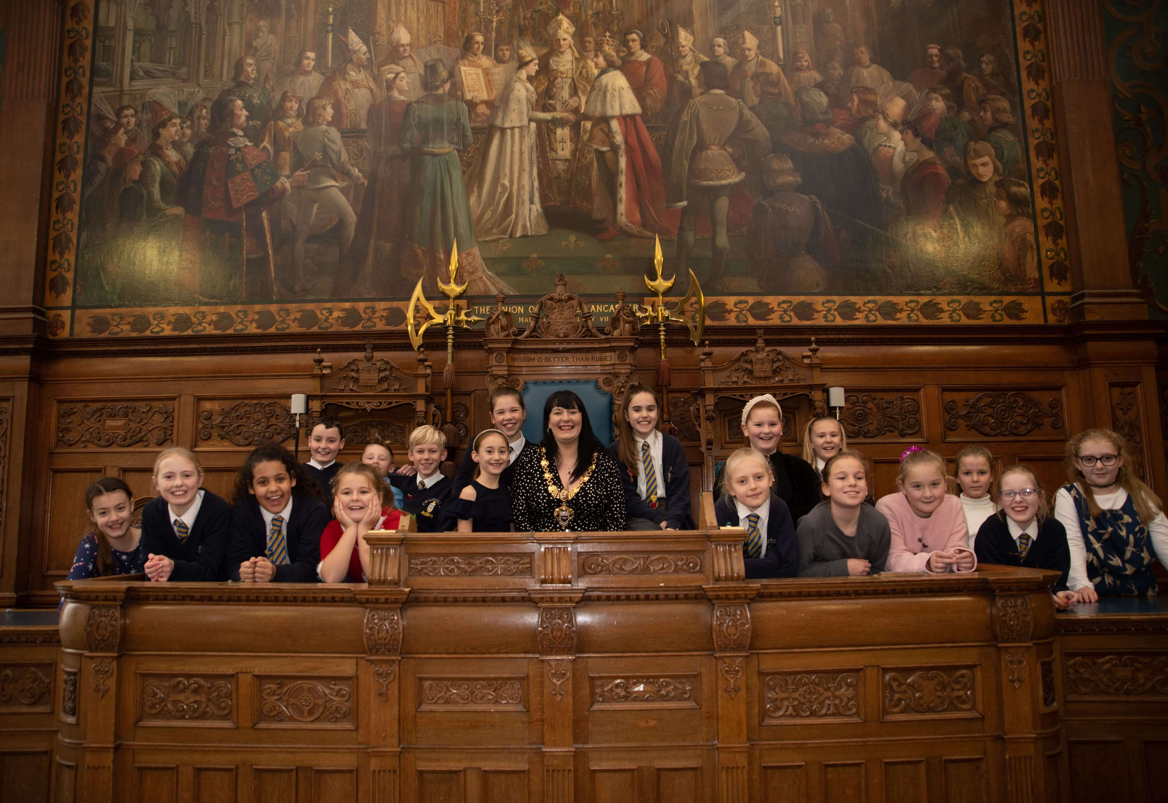 Mayor of Blackpool, Cllr Amy Cross with Anchorsholme Academy school choir in the Town Hall