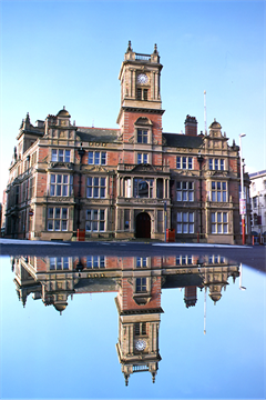 Blackpool Town hall with reflection