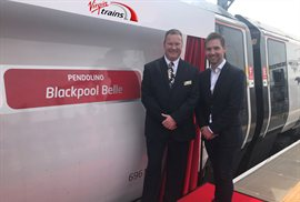 Virgin's Pendolino train named Blackpool Belle