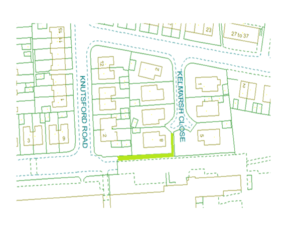 Map showing Knutsford Road alley gate area