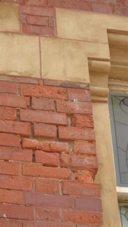Frost damage on a Late Victorian building brickwork