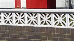 Modern decorative concrete block walling on garden.