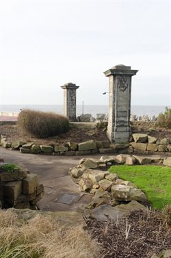Large pillars formerly framing the entrance to Lower Walk