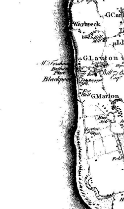 Appendix 1 Detail of Blackpool from Yates Map of Lancashire 1786