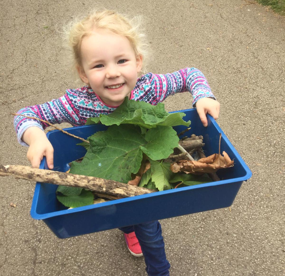 Child holding a box filled with sticks and leaves