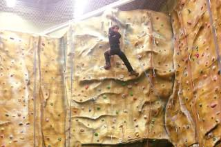 Man on a Climbing Wall at Blackpool Sports Centre
