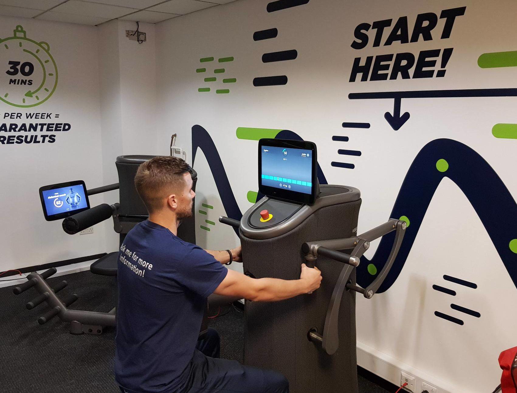 Image shows fitness instructor Jordan using the Express fitness machines