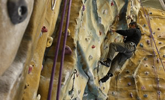 Man on the Climbing Wall at Blackpool Sports Centre