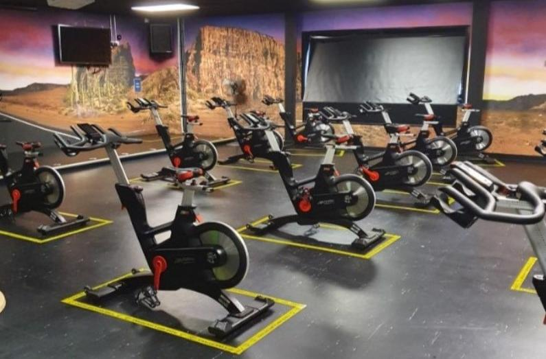 Exercise bikes in rows
