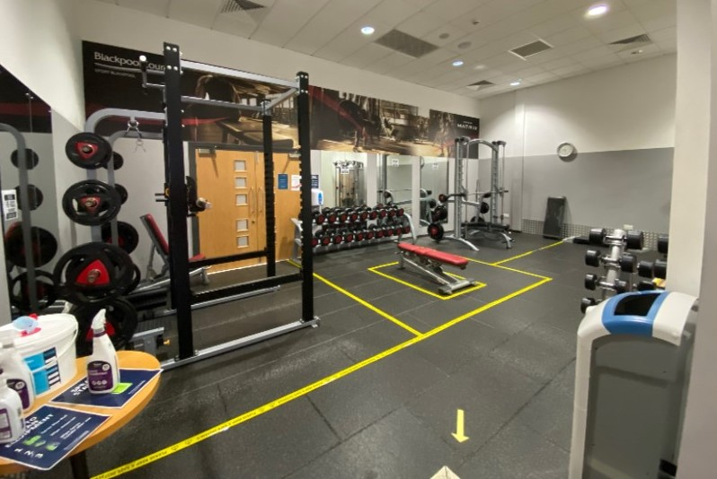 Image shows Moor Parks free weights area