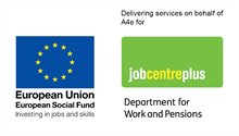ESF_JCP funded by european social fund and jobcentre plus-logos